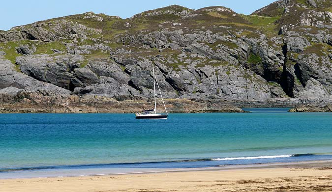 Yacht at Kiloran Bay Colonsay