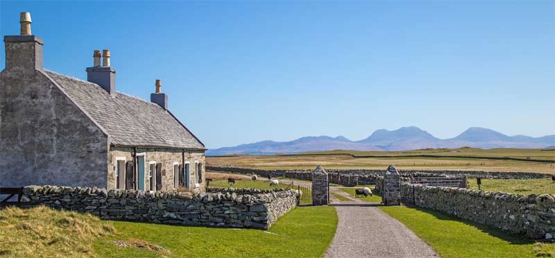 Cottage and View to Jura at Entrance of Priory